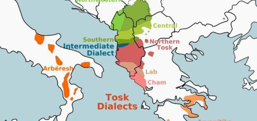 Kosovo Distribution of the two main Albanian dialects Gegisch and Toskisch